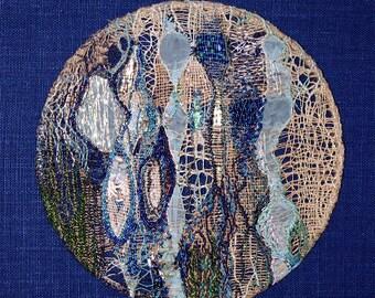 "Mandala embroidered ""Iemanjá"" - deep waters of the sea - wall textile art."