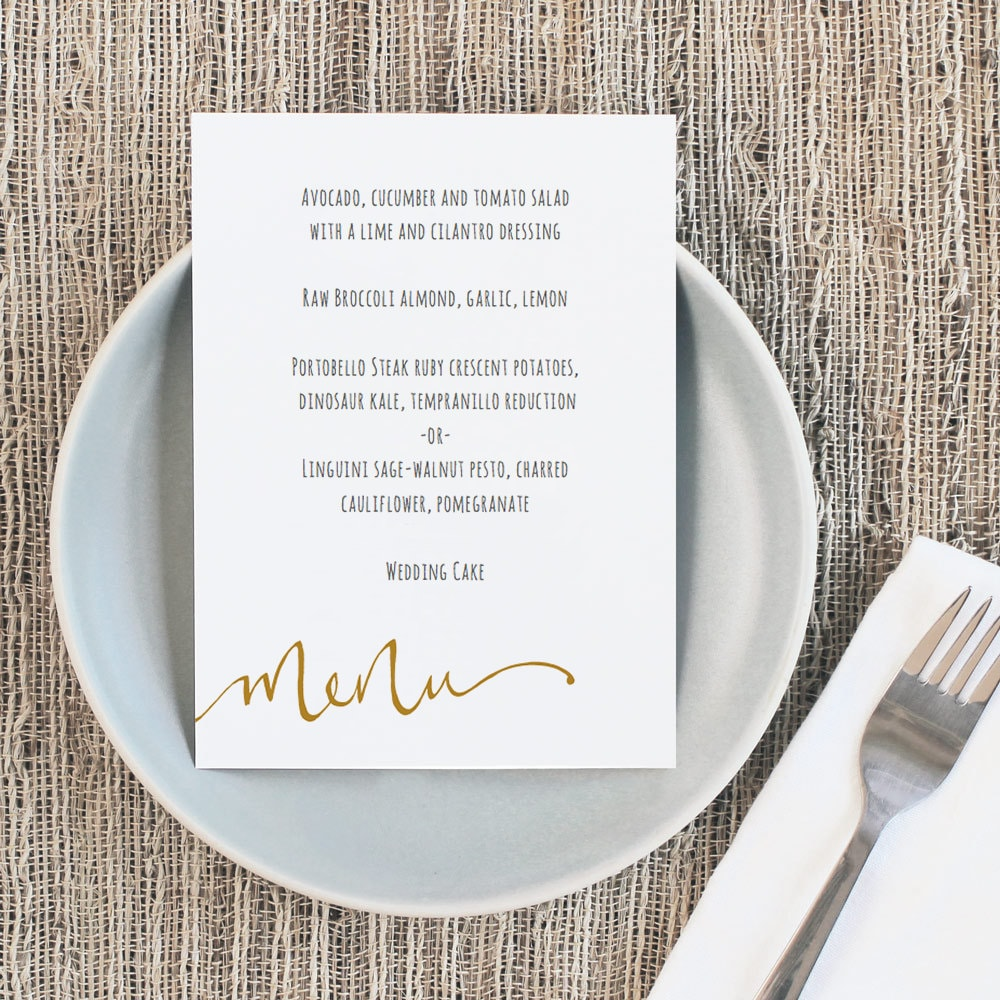 Printable Wedding Menu Template | INSTANT DOWNLOAD | Calligraphy ...
