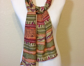 Silk Scarf in Shades of Green and Orange 10.25 Inches Wide by 60.25 Inches Long Previously 20 Dollars ON SALE