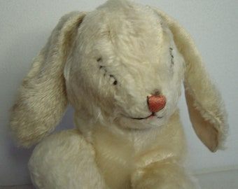 lovely vintage 50s Steiff Mohair sleeping bunny rabbit with bell