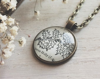 Holly Necklace - holly - Holly pendant - Holly jewelry - Holly keychain  - birthday - december birthday - flower illustration -december gift