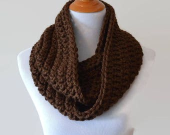 Chocolate Brown Crochet Infinity Scarf Billings Chocolate Cowl Crocheted Scarves Winter Women's Fashion Accessories Gift Ideas Chunky Bulky