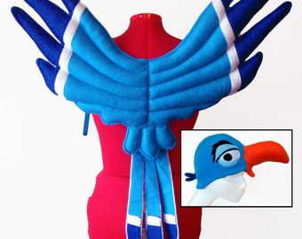 Blue Hornbill Costume Set. Wings and Hat. African Bird.