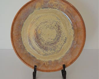 handmade, wheel thrown, gold and brown ceramic plate