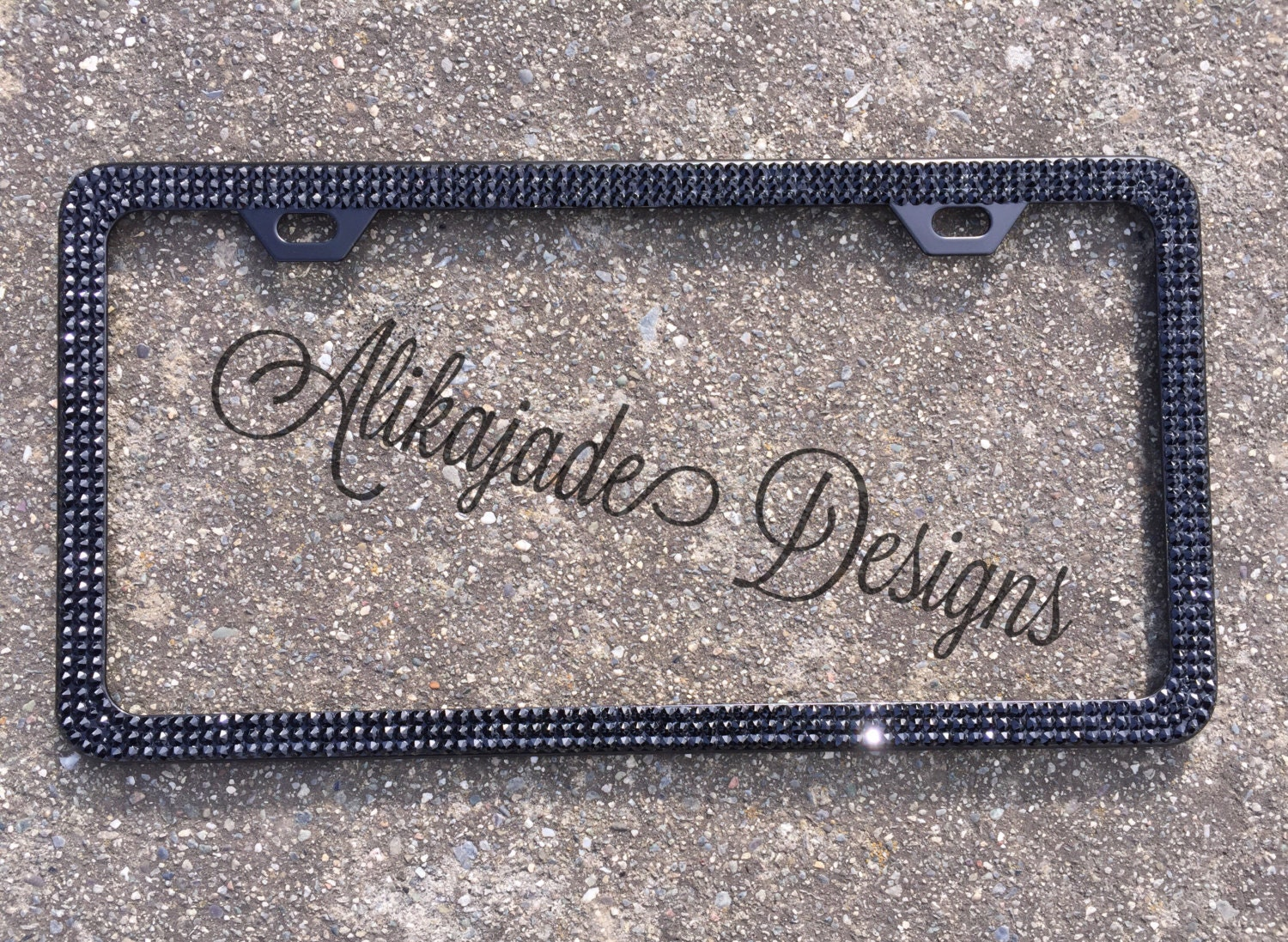 Black on Black Swarovski Crystal Bling License Plate Frame - Custom ...