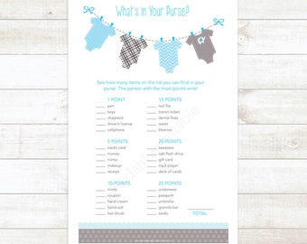 clothes hanger baby boy shower game what's in your purse baby blue baby boy shower baby shower digital games - INSTANT DOWNLOAD