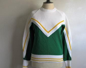 Vintage 1980s Varsity Sweater White Green Yellow Stripe Crew Neck Acrylic 80s Cheerleader Pullover Small-Medium
