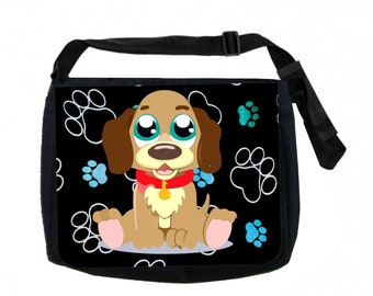 Beagle Puppy on Blue Pawprints Black School Shoulder Messenger Bag