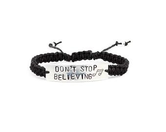 Journey Bracelet, Don't Stop Believing, Song Name Bracelet, Lyric Jewelry, Music Bracelet, Handstamped Bracelet, Music Lover Gift