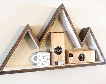 3 Peak Mountain - Two Toned, Wall Art, Shelf, Bookshelf, Mountain Decor, Home Decor, Rustic, Nursery, Nursery Wall Art, Nursery Decor