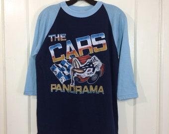 1980s the Cars new wave rock band baseball style t-shirt Panorama size medium 19x26 2 tone made in USA early pop punk
