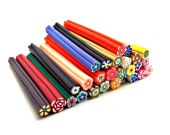 20 Clay Canes, Mixed Flower Canes, Polymer Clay Canes, 2 Inch Fimo Canes, Nail Art, Kawaii Canes, Scrapbooking, Fimo Jewelry, UK Seller