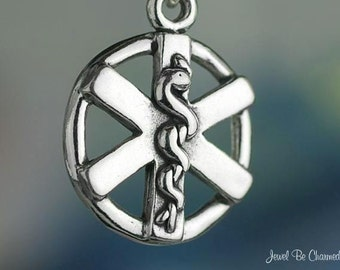 Sterling Silver Paramedic Charm Emergency Medical Services Solid .925
