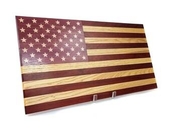 Wooden American Hardwood Flag Wall Art Decor with Wood Inlay