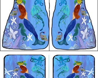 Mermaid and Sealife Art Car Mats front and rear from my original design