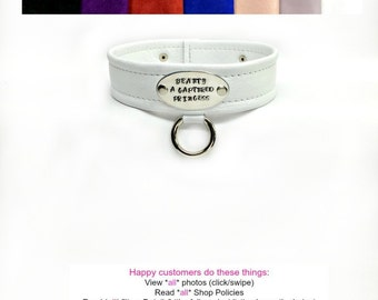 BDSM Collar Center Bondage DROP RING Engraved Lockable Genuine Suede Choice of Colors Ladies or Men Unisex