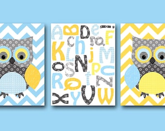 Owl decor Alphabet Nursery Kid Room Decor Baby Boy Nursery Art Nursery Wall Art Kids Art set of 3 Owl Wall Art Alphabet Blue Gray yellow