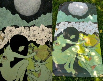 Large Art Tapestry - Moonflower - 3x6' ft Fabric Satin Printed