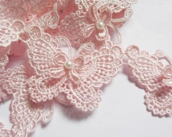 """Butterfly 3"""" Pearl Lace Edge Trim pink or white select 0.5 yard or 1 yard"""