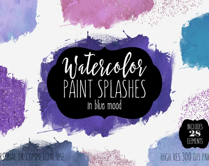 BLUE WATERCOLOR BRUSH Strokes Clipart Commercial Use Clip Art 28 Watercolor Paint Splash Purple Confetti Watercolor Textures Logo Graphics