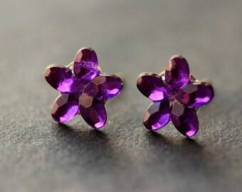 Purple Flower Earrings. Purple Earrings. Silver Stud Earrings. Sparkle Earrings. Post Earrings. Handmade Earrings. Handmade Jewelry.