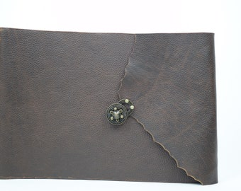 OOAK Large Leather Photo Album with Black Paper  - Rugged Brown - Large