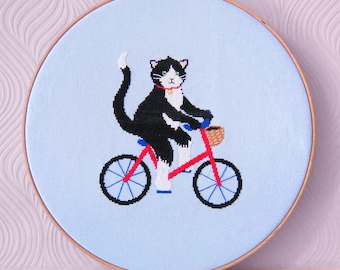 Cat Cross Stitch Pattern - Cycling Cross Stitch - Modern cross stitch- Cute Cross Stitch Pattern - Instant Download