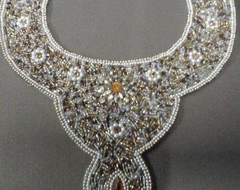 Gold Beaded Bib Statement Necklace
