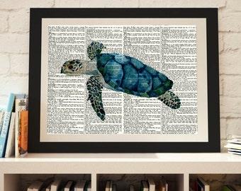 Sea Turtle dictionary print, dictionary art, Nautical print