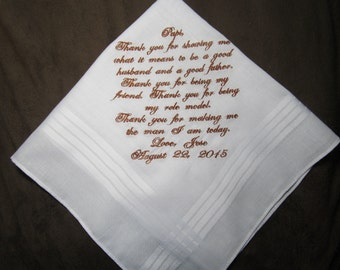Groom's Father - Personalized Wedding Handkerchief With Free Gift Envelope - Shown with Copper Writing
