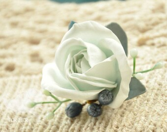 grey white rose brooch flower handmade Jewelry roses brooch Blue accessory Flower pin clip roses Blue broach jewelry wedding Blue roses Gift