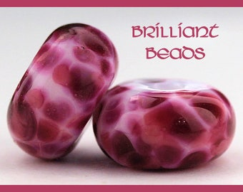 Fuchsia & Pink Handmade Lampwork Glass Bead Pair, Made To Order, SRA