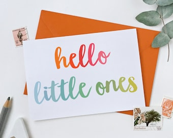 Hello Little Ones New Baby Twins Card - New Baby Card – New Born Greetings Card - Newborn Twins Card – New Baby Triplets Card