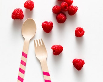 Raspberry Stripes - 20 Wooden Utensils - Choose Forks, Spoons, or Ice Cream Spoons