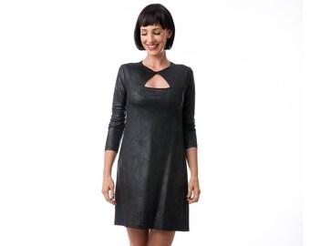 Black vegan leather  dress, jersey dress , winter dress, Long Sleeve Dress, Fashion Dress, Womens Winter Dresses