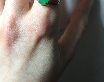 Jade ring - 14K gold, Ring size 6 US
