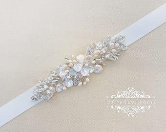 Pearl belt, Bridal belt, leaf belt, pearl bridal belt, leaf sash, wedding belt, bridal sash, sash belt, pearl sash, shell belt, JENNIFER