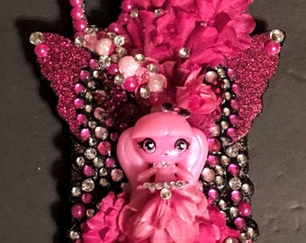 New Handmade iPhone X PROTECTIVE CASE / Decorated with a Monster High Fairy - Pink & Black by JayLynn Miniatures