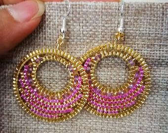 earrings rococo Japanese circle creole PINK white fastener titanium hypoallergenic sensitive skin vintage ethnic rio