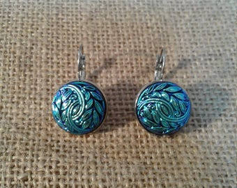 Stunning Czech Glass Button Earrings Icy Blue Leaf Stainless Steel Leverback