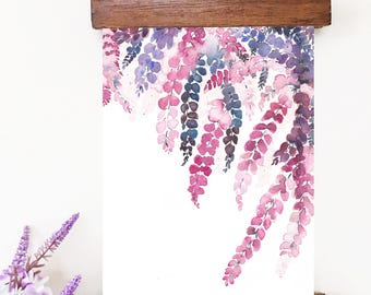 Wisteria Watercolor Painting, Original Watercolor Flowers Painting, Purple Flowers, Watercolor Wisteria, abstract floral, floral decor