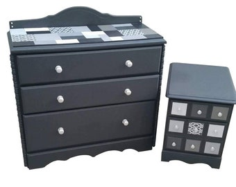 SOLD - Refinished solid wood dresser and nightstand set, black with white and silver accents.