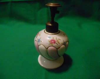 One (1). Hand Painted, Porcelain. Perfume Bottle, with Pump Atomizer.