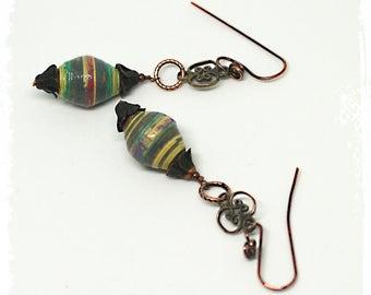 Boho dangle earrings for her, Tribal earrings, Everyday earrings for women, Artisan paper bead earrings, Neutral earrings, Ethnic earrings ,