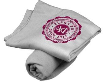 Alpha Phi Old School Seal Sports Gray Sweatshirt Blanket - Maroon Print