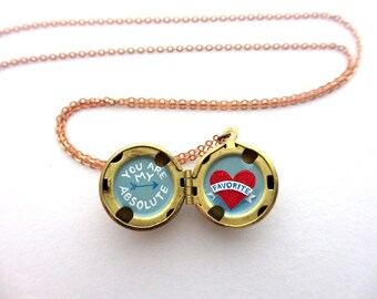 You are My Absolute Favorite Tiny Secret Painting - Free Shipping on Water-Marked Brass Lockets