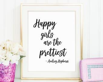 Happy Girls Quote, Cute Teen Girl Gift, Girl Fashion Poster, Audrey Hepburn, Makeup Wall Decor, Makeup Print, Fashion Decor, Printable Art