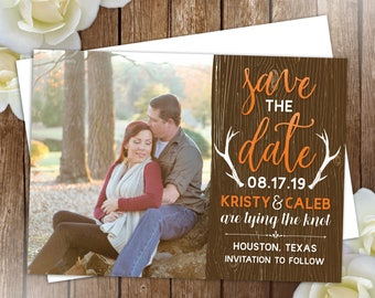 10 Rustic Antler Save the Date Cards, Photo save the dates, Country wedding cards, engagement cards, Autumn theme, printed with envelopes