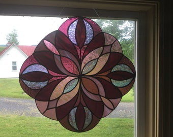 "Hand Made Stained Glass Window ""Kelidescope"" in Purple"