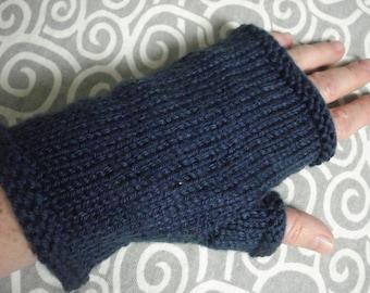 Navy blue fingerless mitts